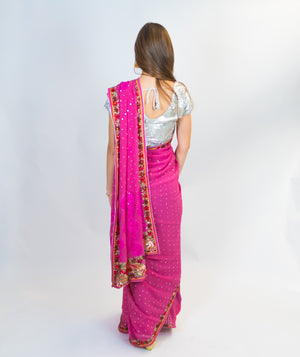 Pink Silk Embroidery Sari