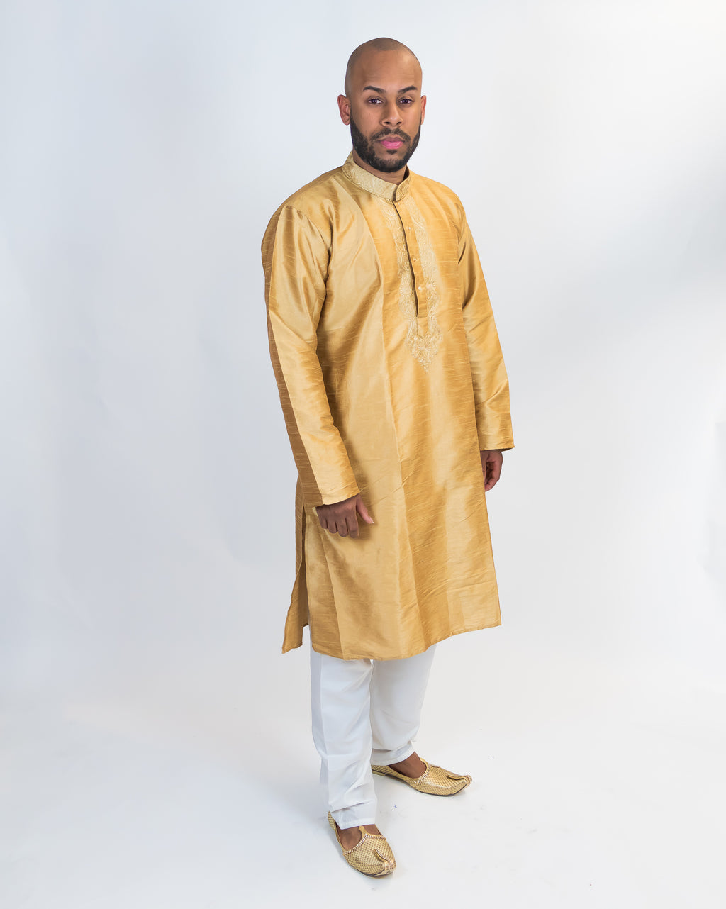 Silk Embroidered Gold Men's Kurta