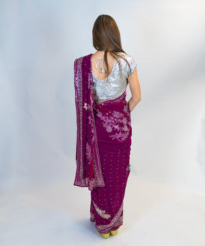 Mauve Embroidered Silk Saree