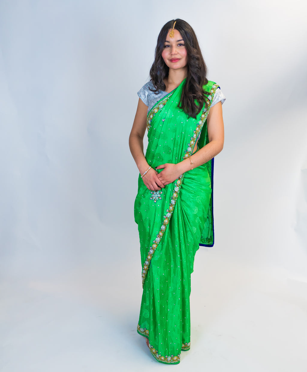Mint Green Silk with Embroidery Sari