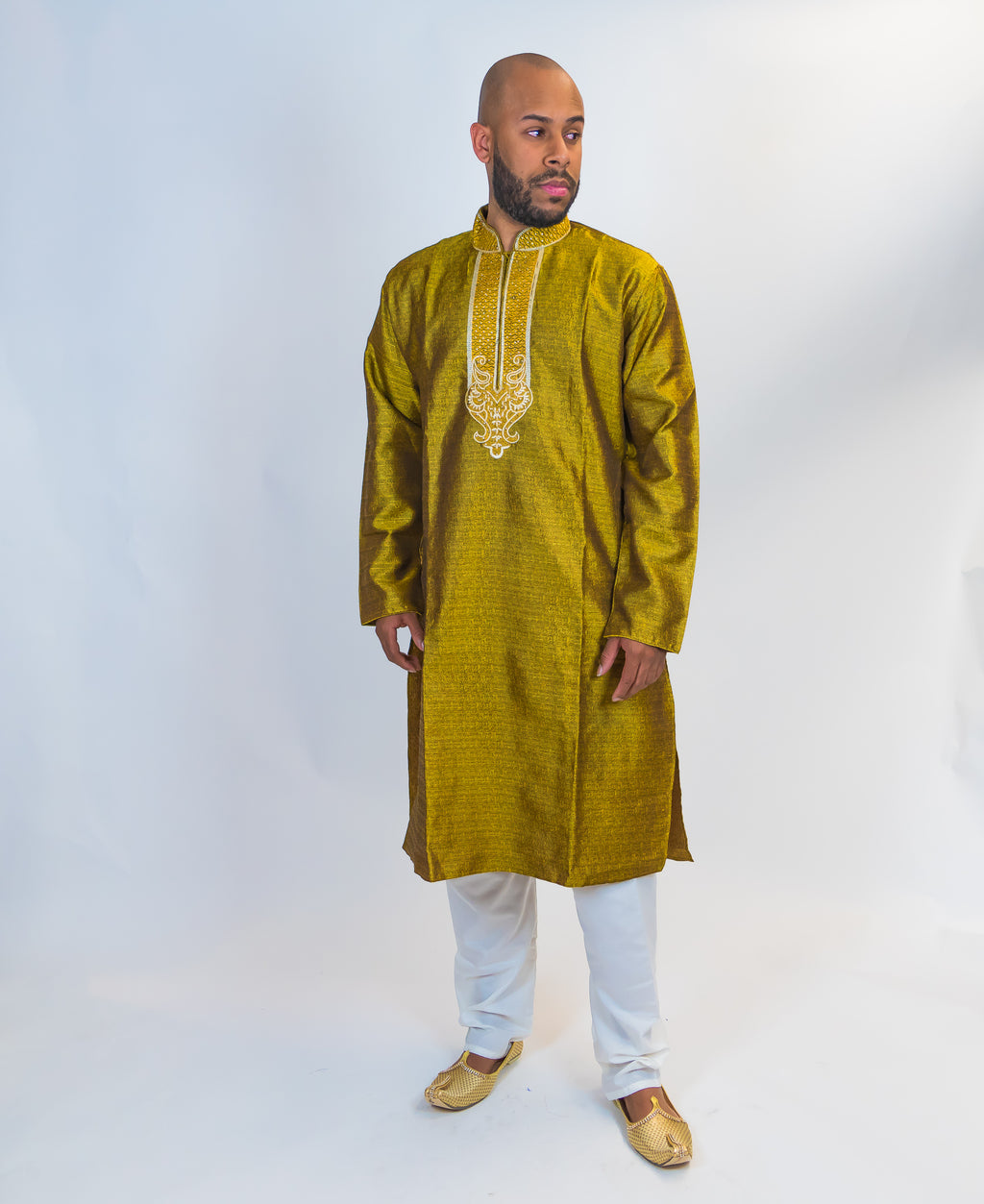 Silk Yellow Gold Embroidered Kurta
