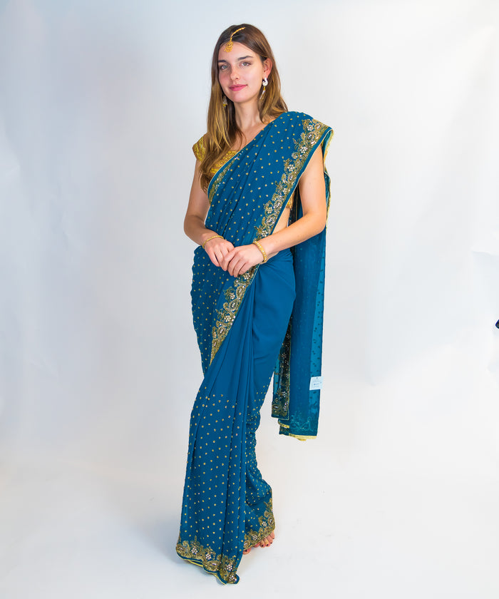 Blue Embroidered Silk Sari