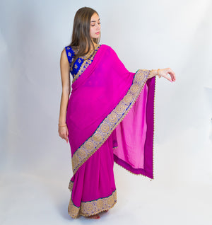 Mauve Pink Embroidered Zari Silk Saree