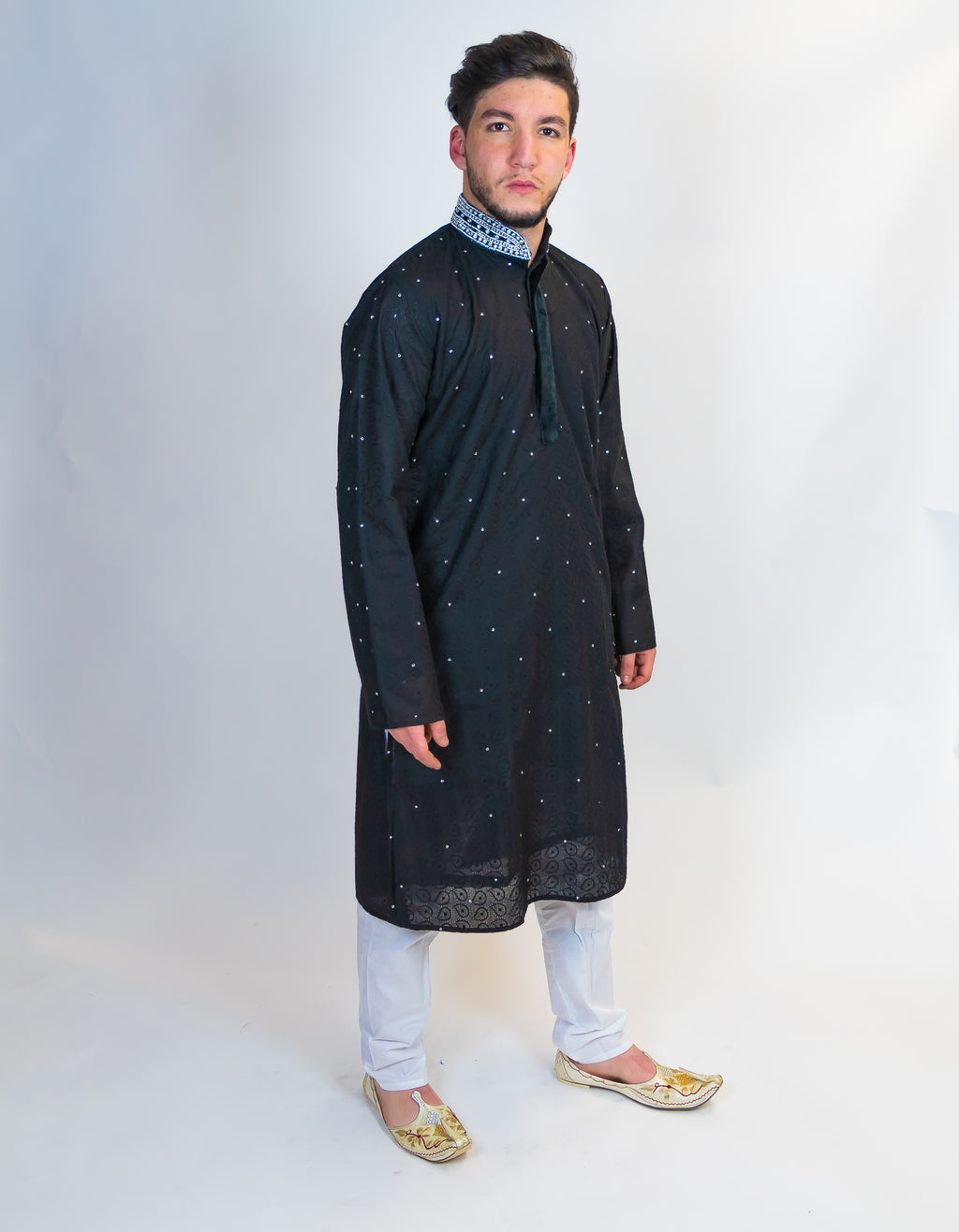 Cotton Black Embroidered Kurta