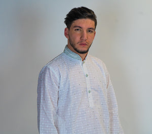 Cotton White Embroidered Kurta