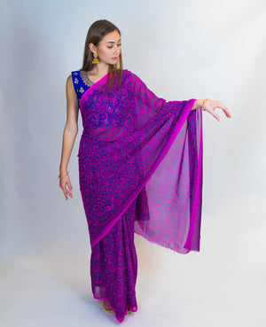 Purple Print Saree