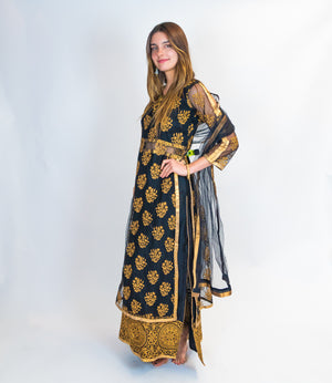 Black with Gold Embroidery Silk Anarkali