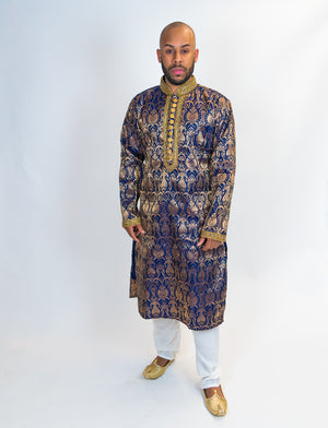 Silk Brocade Blue Kurta with Gold Trim work