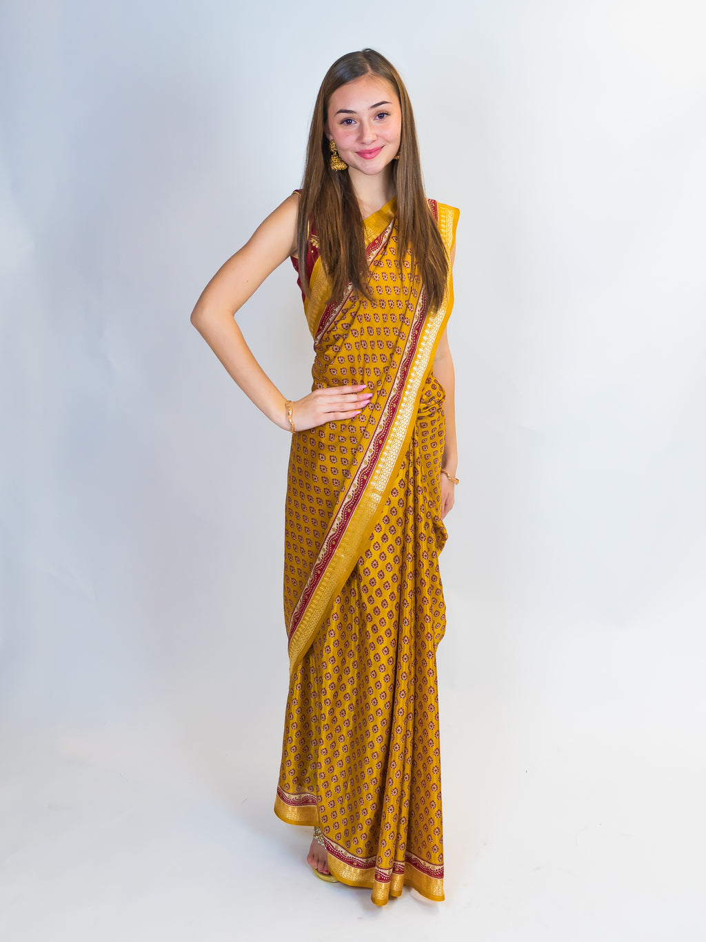 Mustard Gold Printed Saree