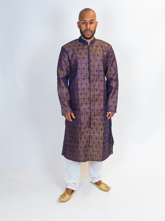 Silk Brocade Dark Navy Blue With Light Black Paisley's Kurta