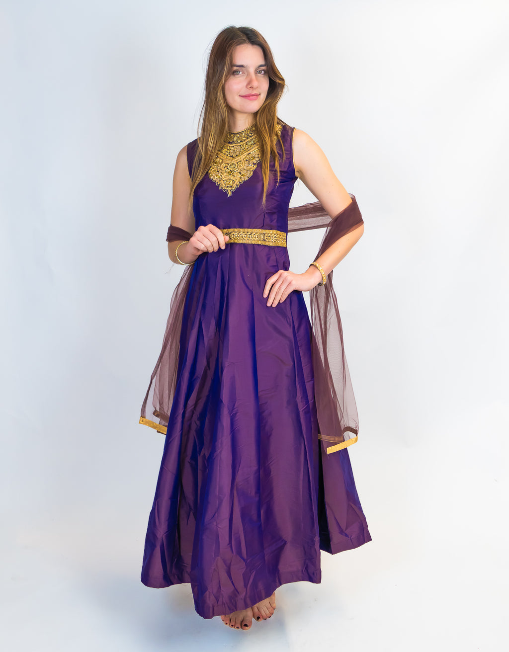 Purple with Golden Embroidery Silk Gown