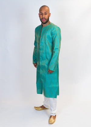 Winter Green Brocade Silk Front open Kurta
