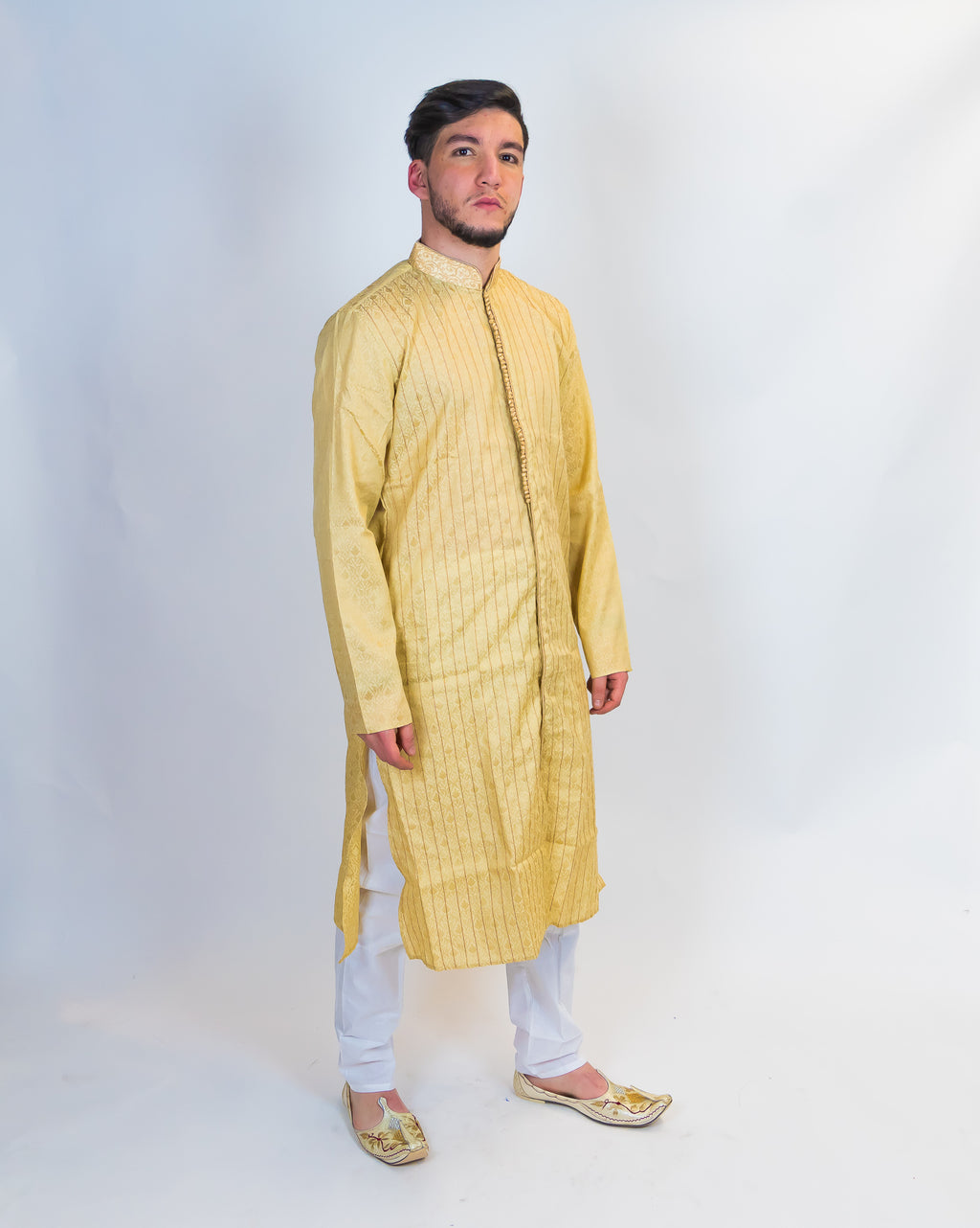 Silk Gold All Button Down Men's Kurta