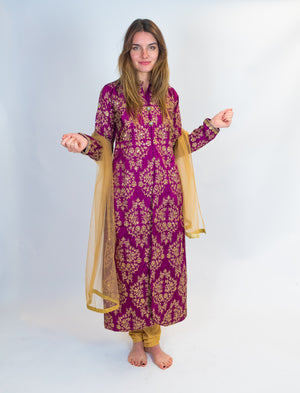 Wine with Gold Embroidery Silk Salwar Kameez
