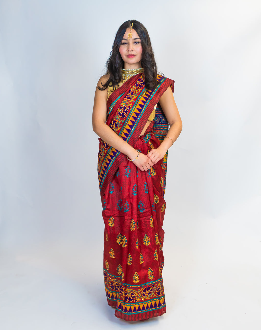 Maroon Embroidered Printed Saree