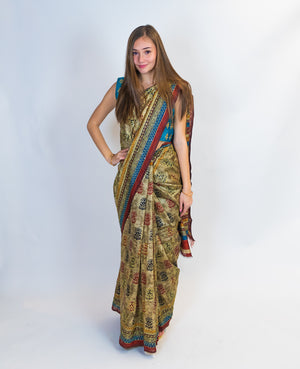 Printed Embroidered Saree