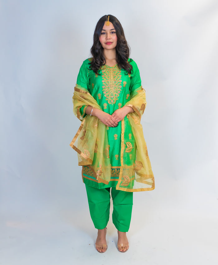 Mint Green Full Embroidery Silk Salwar Kameez