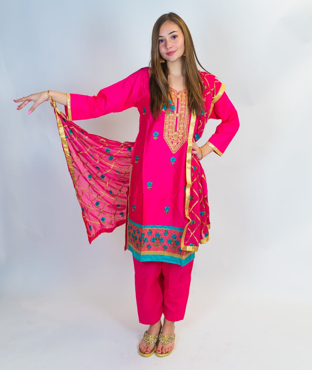 Fuchsia with Gold & Blue Embroidered Salwar Kameez