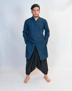 Organic Cotton Dark Grey Front Open Kurta