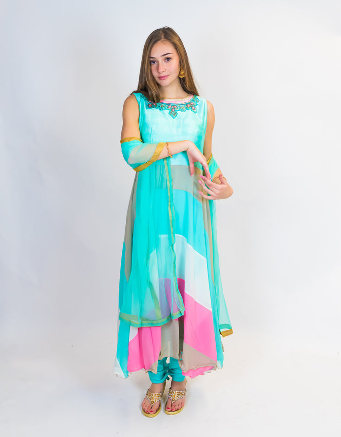 Sky Blue Embroidered Silk Salwar Kameez