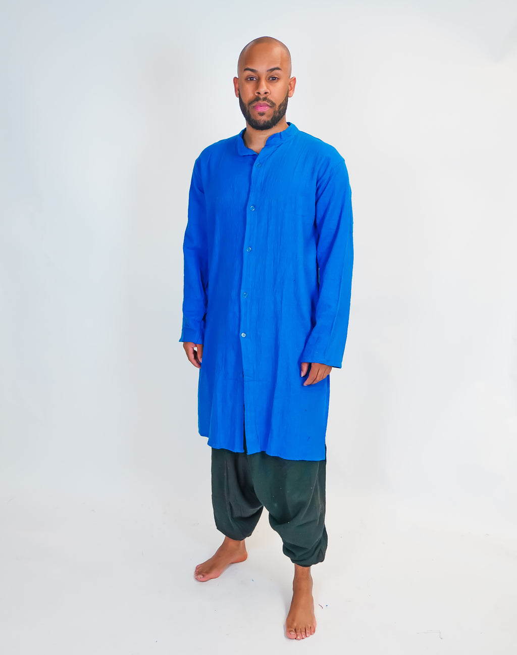 Organic Cotton Blue Front Open Kurta
