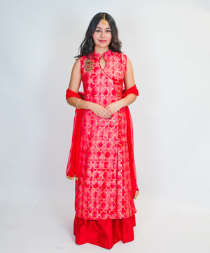 Peachy Red Silk Split Anarkali Lehenga