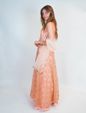 Rose Pink Hand Embroidered Silk Gown