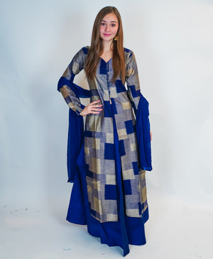 Blue Skirt with Anarkali Split Lehenga