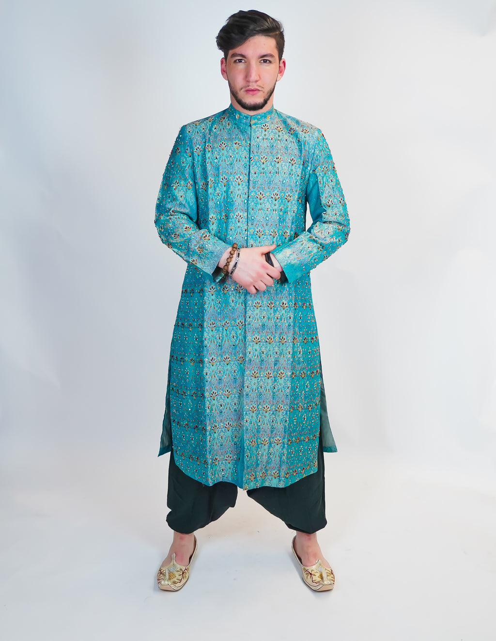 Light Blue Formal Handmade Silk Sherwani with Stone work
