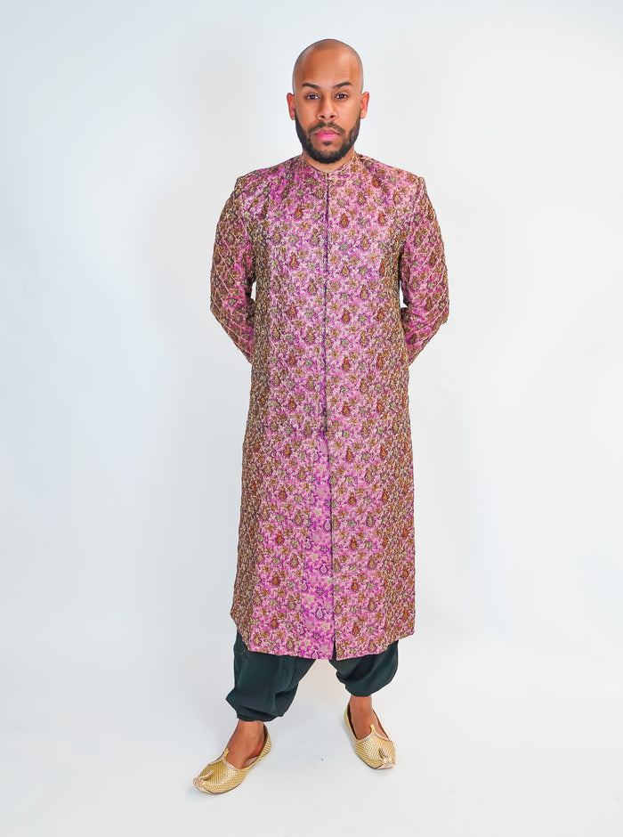 Light Mauve Purple Silk Embroidered Sherwani