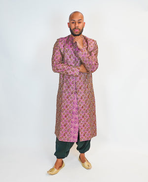 Dark Rose/Pink Silk Embroidered Sherwani