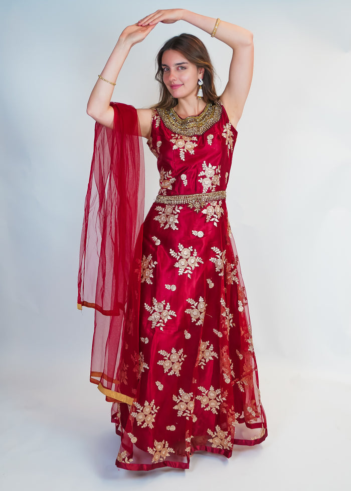 Rosy Maroon with Gold Embroidery Silk Gown
