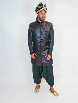 Silk Brocade Black Nehru Sherwani