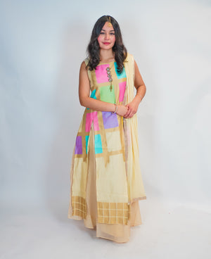 Colorful Silk Split Anarkali Lehenga