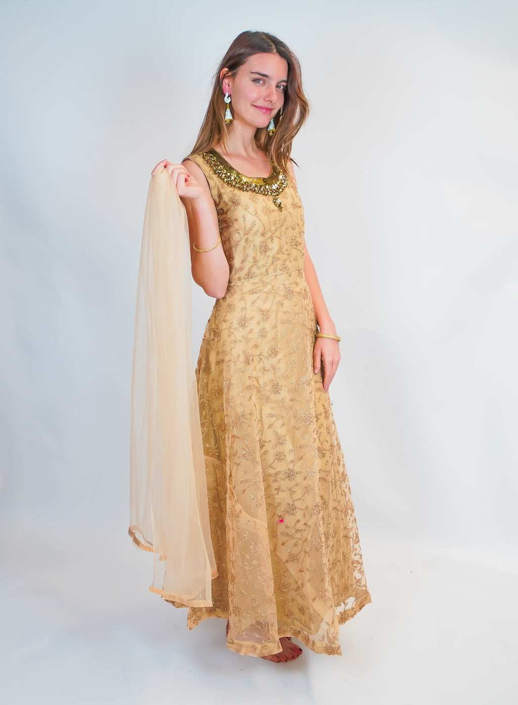 Regal Gold Embroidered Silk Gown