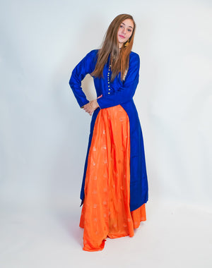 Blue Orange Silk Split Anarkali Lehenga