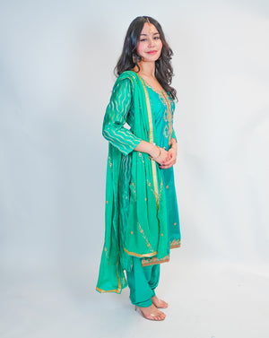 Silk Sea Green with Gold Embroidery Salwar Kameez