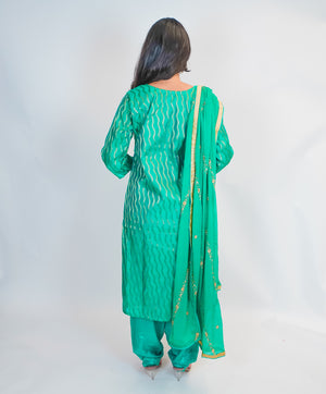Sea Green with Gold Embroidery Silk Salwar Kameez