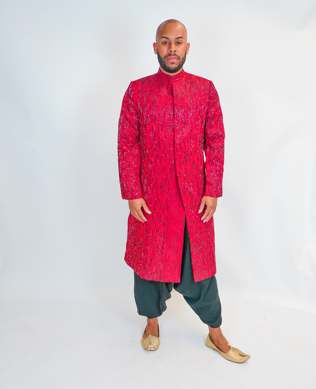 Mud Red Silk Full Embroidered Sherwani