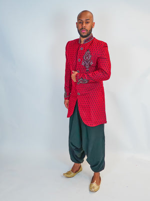 Silk Maroon/Red Brocade with Light Embroidery Sherwani