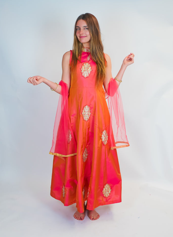 Salmon Peachy Silk Gown with Golden work