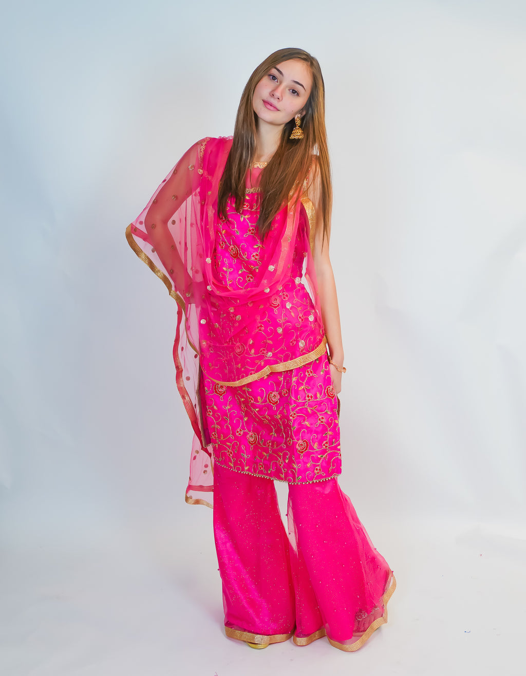 Rose Fuchsia Embroidered Silk Salwar Kameez