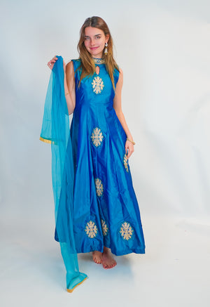 Royal Blue Silk Gown with Golden Work
