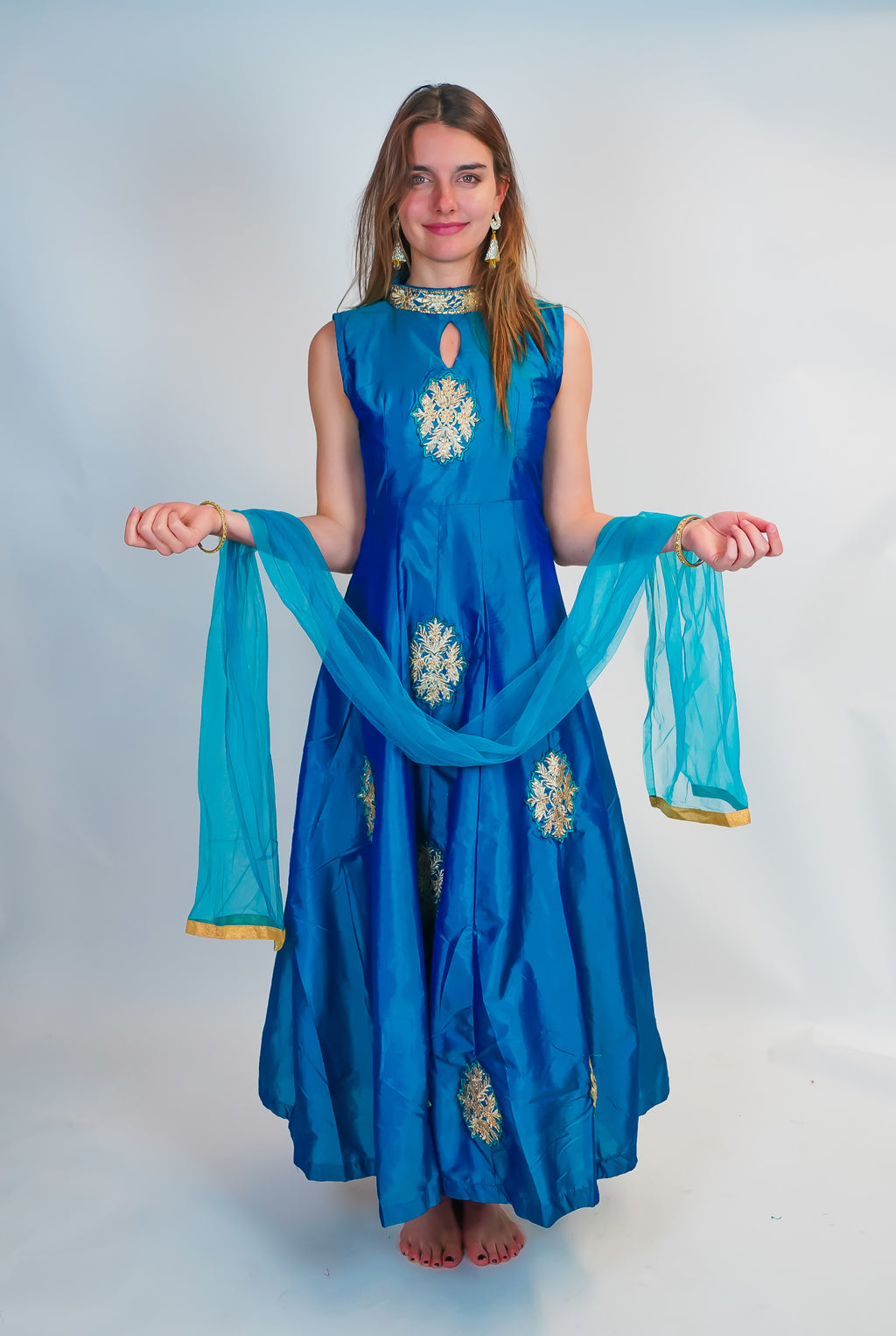 Silk Sapphire Embroidered Gown
