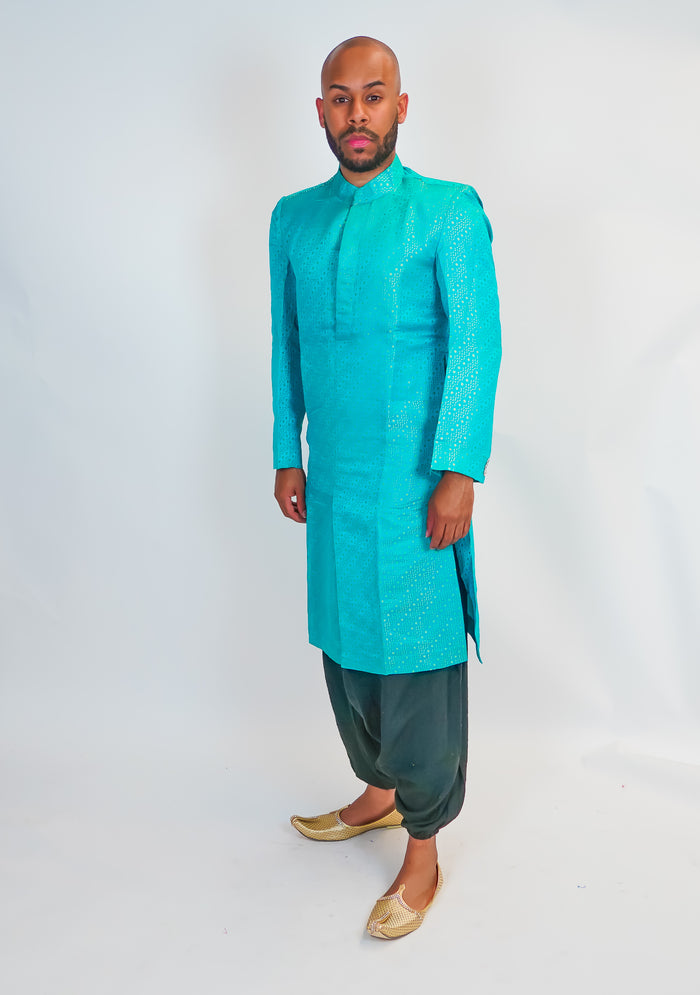 Simple Silk Brocade Sherwani