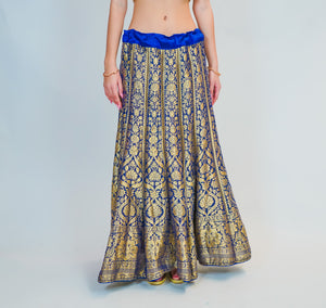 Silk Blue Kalidaar Brocade Skirt