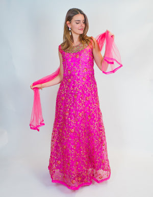 Vibrant Pink Fuchsia Silk Embroidered Gown