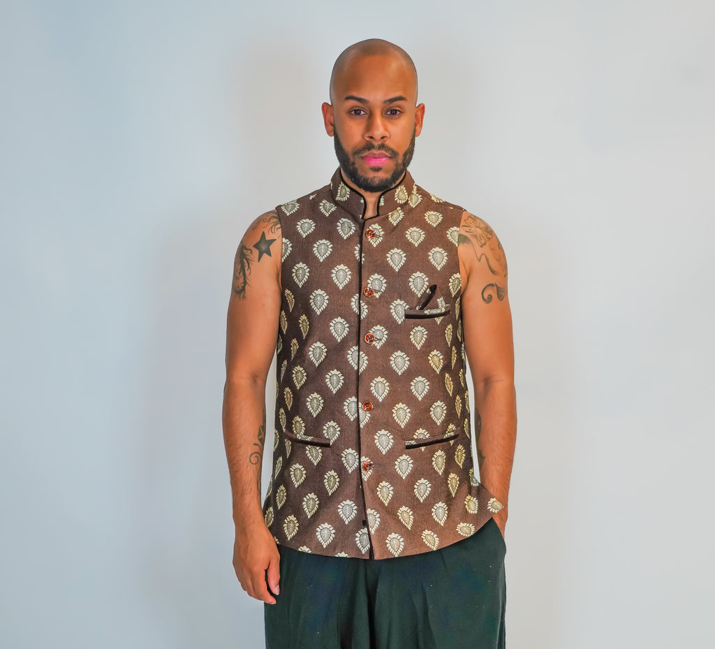 Silk Light Brown Brocade Vest
