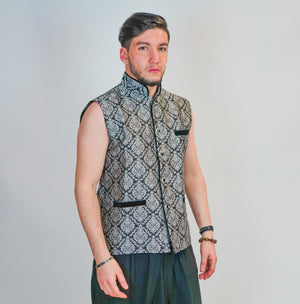 Silk Black Gray Brocade Vest