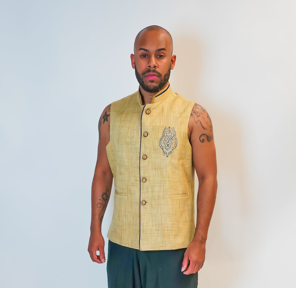 Light Cream Silk Modi Vest with Blue Trim Work